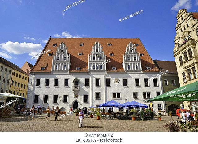 Town hall at market place at the old town, Meissen, Saxony, Germany, Europe