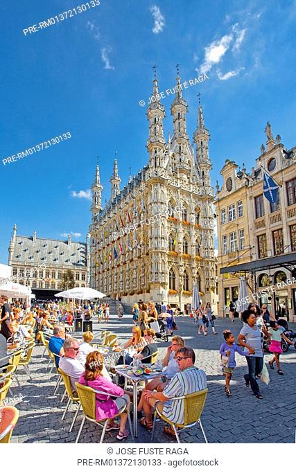 Sidewalk cafe in front of the Town hall at the Great Market, Leuven city, Flemish Brabant, Belgium, Europe