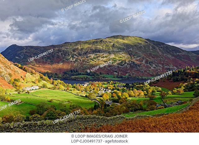 View over Glenridding and Ullswater with Place Fell beyond in the Lake District National Park