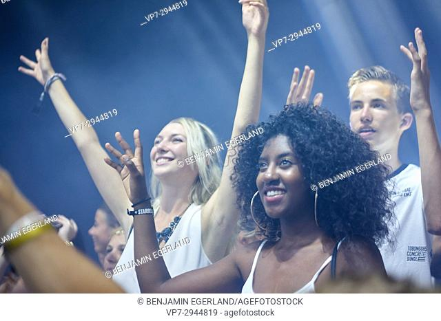 young people enjoying music festival Starbeach on 14. August 2017 in Hersonissos, Crete, Greece