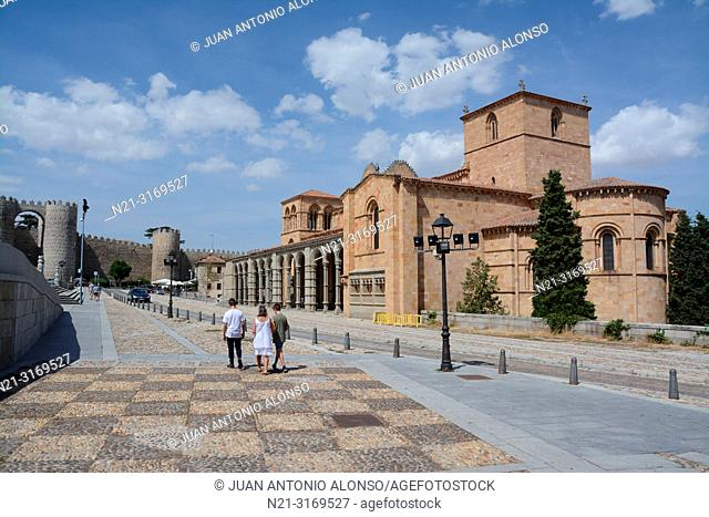 San Vicente Basilica and partial view of the walled city. Ávila, Community of Castilla-León, Spain, Europe