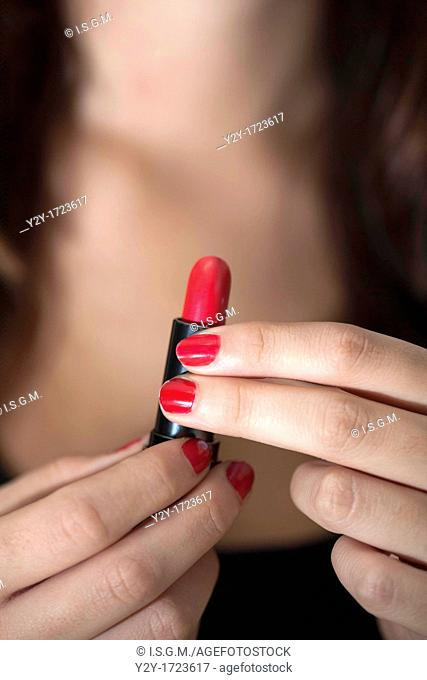 Woman with red liipstick