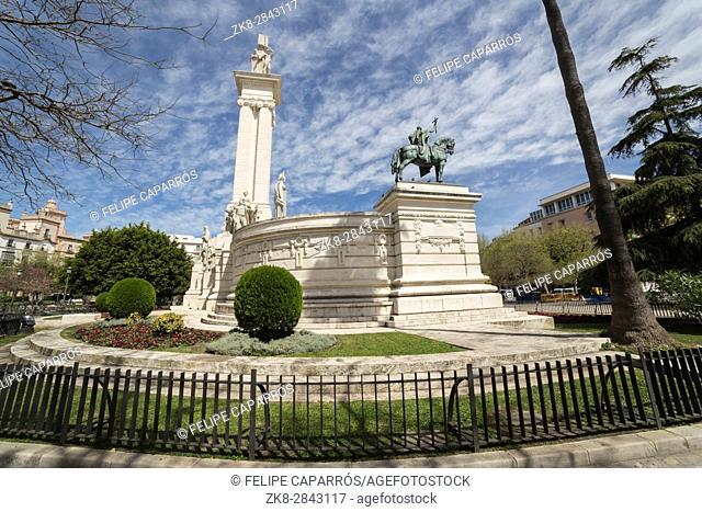 Cadiz Spain- April 1: Monument to the Constitution of 1812, panoramic view, Cadiz, Andalusia, Spain