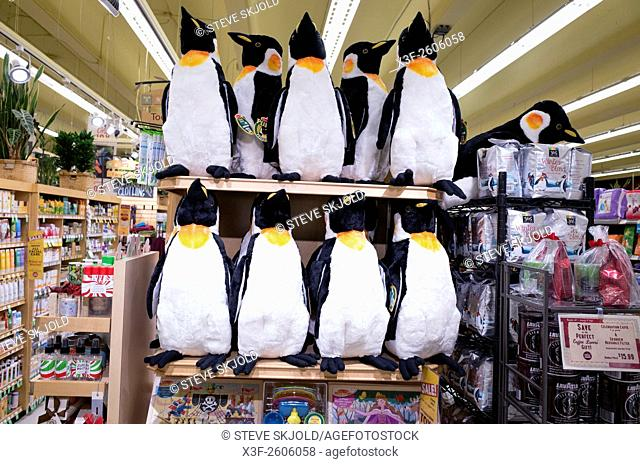 Display of stuffed toy penguins for sale at Whole Foods Market. St Paul Minnesota MN USA