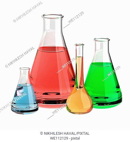 Various lab flasks containing colourful solutions