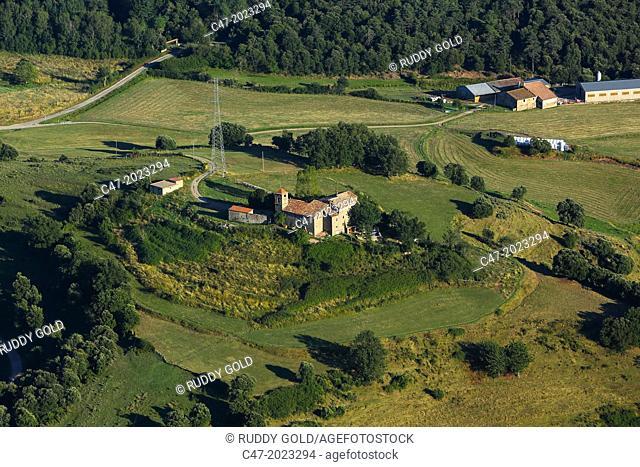 View from El Far (Susqueda) over Sant Marti de Sacalm, La Selva area, Girona province, Catalonia, Spain