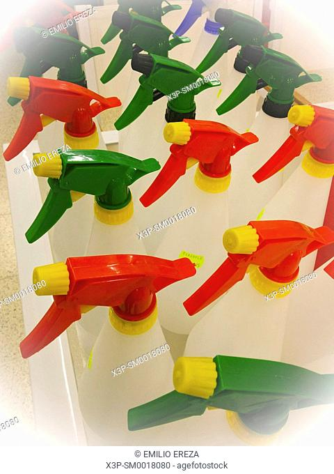 Sprayers for sale in a supermarket