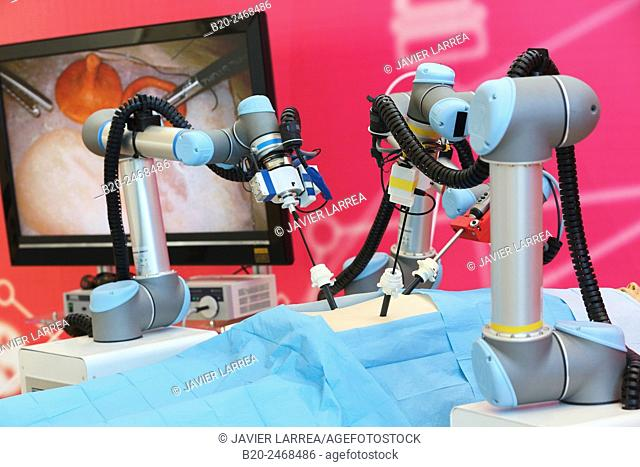 Development of a surgical robot with 3D vision and tactile sensations..This project has relied on the advice of surgeons for the design and manufacture of the...
