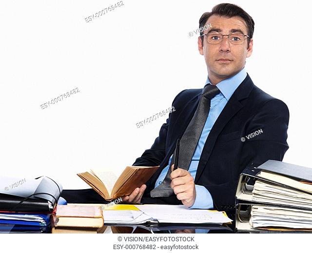 man caucasian teacher professor businessman working isolated studio on white background