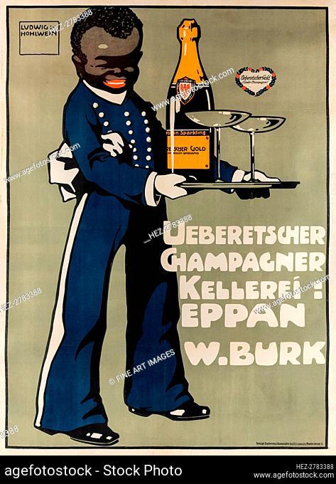 Ueberetscher Champagne Winery, c. 1909. Creator: Hohlwein, Ludwig (1874-1949)