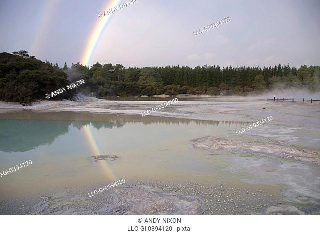 Double rainbow reflected in green water of thermal hot spring pool, trees in background, Wai-O-Tapu Thermal Wonderland, Rotorua, North Island, New Zealand