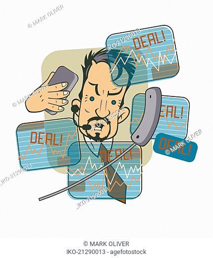 Frantic stock market trader doing deals