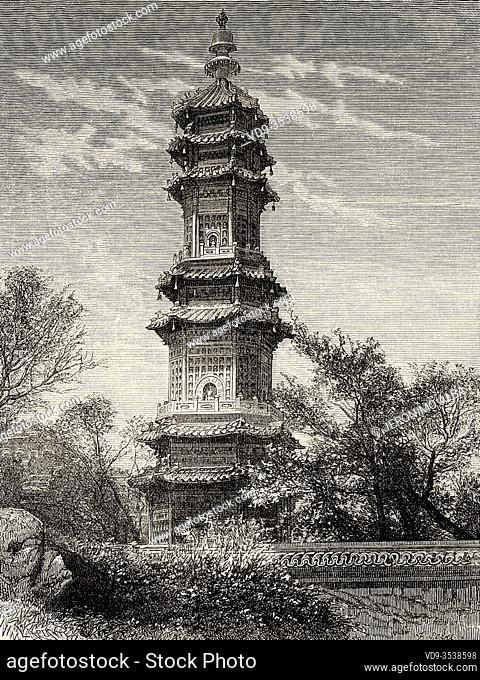 Glazed majolica tower, on the northern slope of Uan-tceu-tcian hill, Old Summer Palace, China. Old 19th century engraved illustration