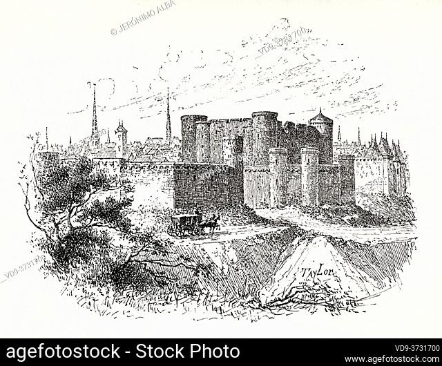 Ancient image of the Château d'Angoulême, castle in the city of Angouleme. Charente department, France. Old XIX century engraving illustration