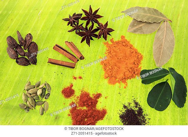 Spices on a banana leaf