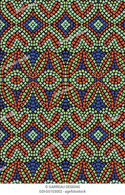 Orange, green and blue mosaic heart pattern