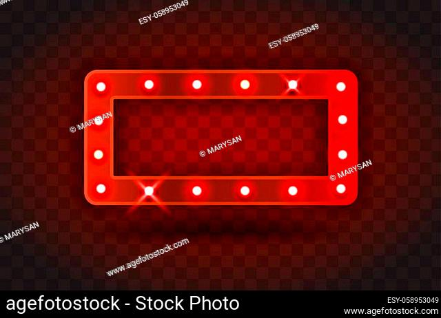 Retro SHOW TIME rectangle frame signs realistic vector illustration. Red rectangle frame with electric bulbs for performance, cinema, entertainment, casino