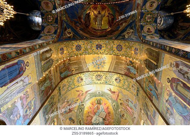 Interior, Church of the Savior on Spilled Blood. Saint Petersburg, Northwestern, Russia