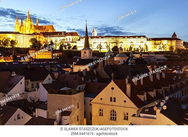 Night falls in Mala Strana, Prague, Czechia