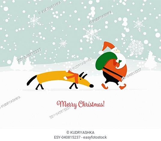 Santa Claus with dog, symbol of 2018. Christmas card. Christmas card. Vector illustration