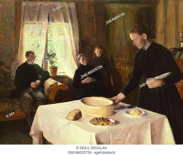 Setting the table by August Eiebakke (1867-1938), 1891, Norway 19th century.  Oslo, Nasjonalgalleriet (National Gallery, Art Gallery)