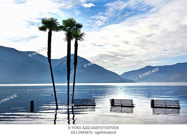 Switzerland, Ascona, flood