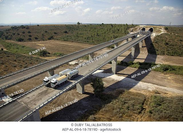 Aerial photograph of the toll road Highway number 6 over the Menashe heights