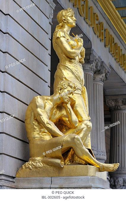 Golden statue in front of Dramaten, Stockholm, Sweden