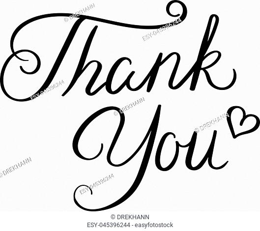 Thank you. Hand drawn vector lettering phrase. Modern motivating calligraphy decor for wall, poster, prints, cards, t-shirts and other