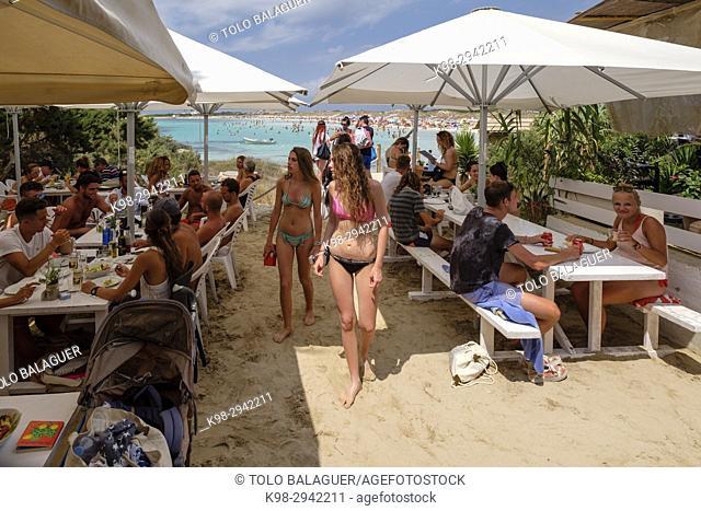 Chiringuito El Pirata, playa de Illetes, Parque natural de ses Salines de Ibiza y Formentera, Formentera, Balearic Islands, Spain