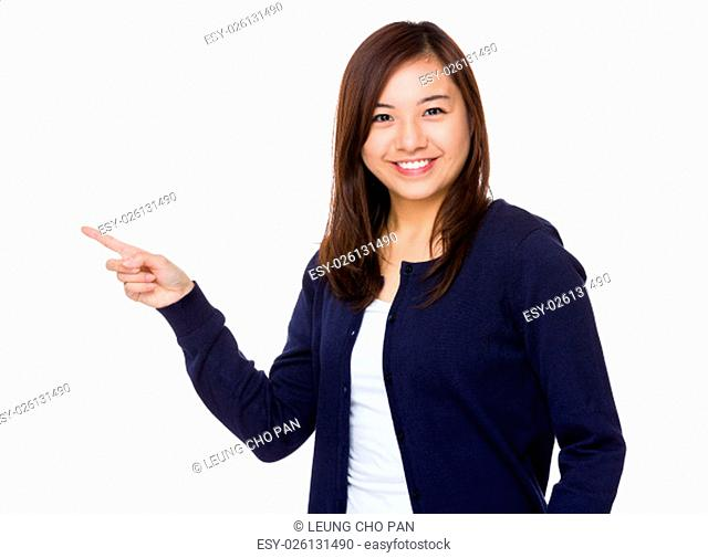 Asian young woman with finger point up