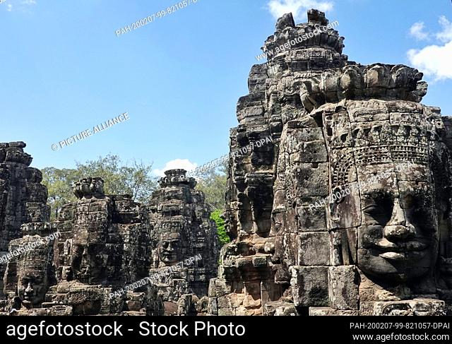 23 October 2019, Cambodia, Siem Reap: The Face Towers or Smiling Stones of the Bayon Temple in Angkor. Photo: Soeren Stache/dpa-Zentralbild/ZB