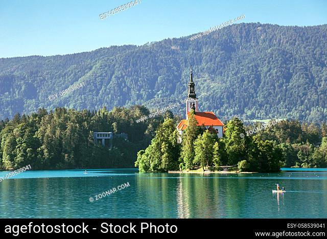 Lake Bled, pilgrimage church of the assumption of maria in Slovenia