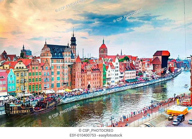 Top view on Gdansk old town and Motlawa river, Poland at sunset