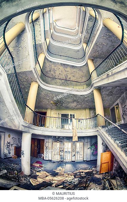 Stairwell in an abandoned office building