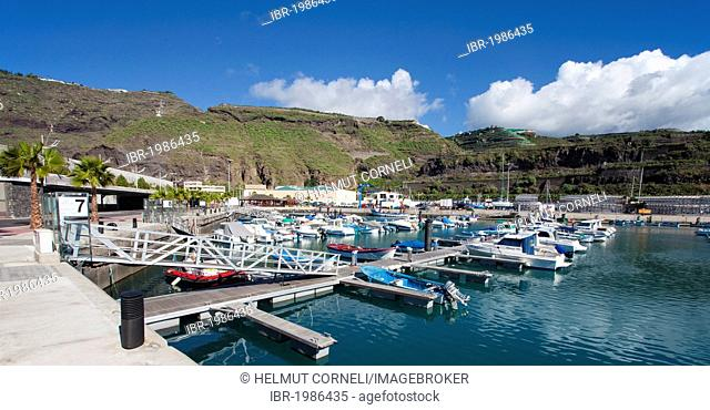 Overlooking the marina of Puerto Tazacorte, Tazacorte, La Palma, Spain, Canary Islands, Europe, Atlantic Ocean