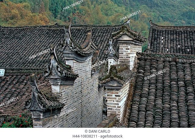 China, Asia, Fishing Village of Yucun, near Xingping, Shaanxi province, roofs, stone houses, architecture, Asia