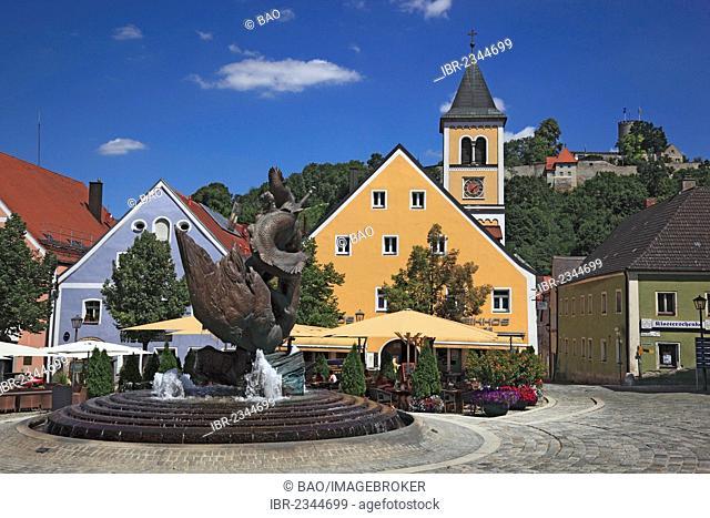 Marktplatz square, historic town centre, Burglengenfeld, Upper Palatinate, Bavaria, Germany, Europe