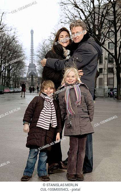Family portrait with Eiffel Tower