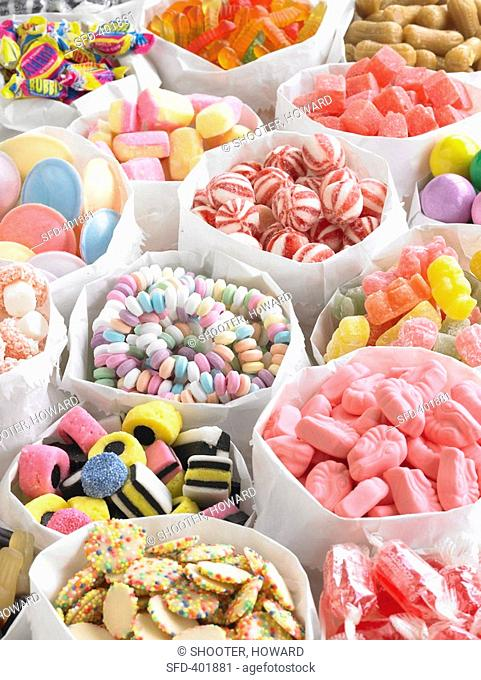 Assorted sweets in paper bags