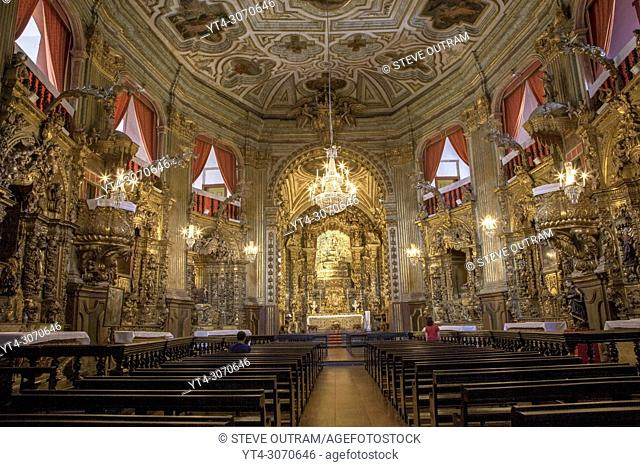 Brazil. Ouro Preto village. Ornate interior of The Church of Igresa de Nossa Senhora do Pilar. Unesco World Heritage Site