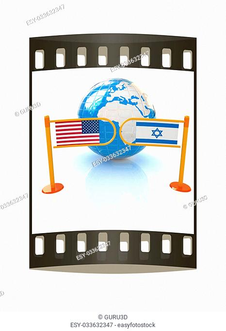 Three-dimensional image of the turnstile and flags of America and Israel on a white background. The film strip