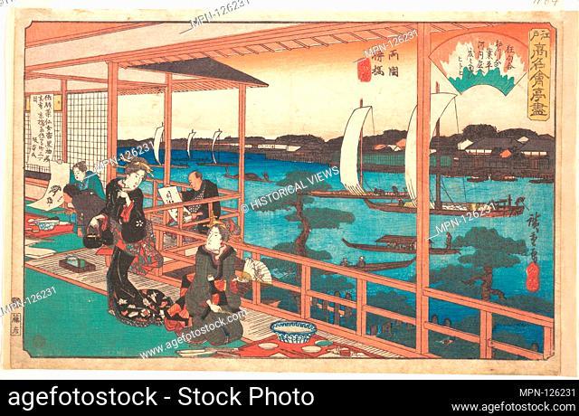 Ryogoku Yanagibashi (Kawachiya)/江戸高名会亭尽 両国柳橋 河内屋/Tea-house at the Willow Bridge. Artist: Utagawa Hiroshige (Japanese