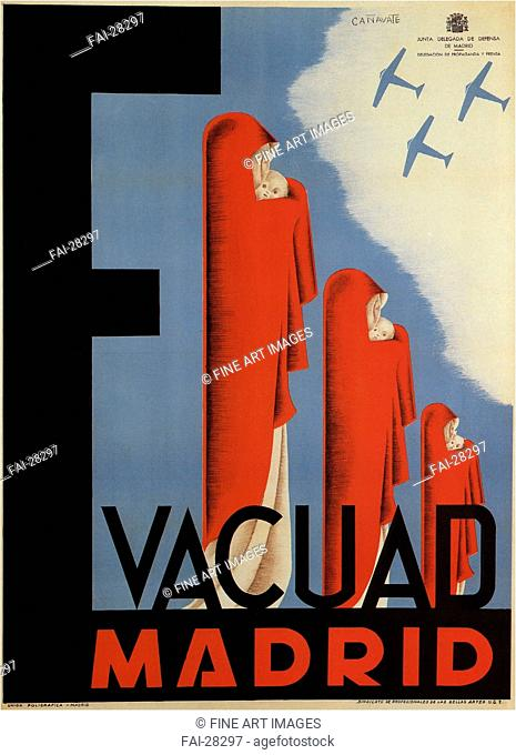 Evacuate Madrid by Cañavate Gómez, Antonio (1902-1987)/Colour lithograph/Social and political posters/1937/Spain/Private Collection/100,3x71