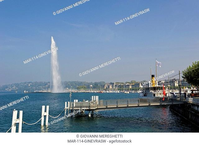 Jet d'Eau fountain, Lake Leman, Geneva, Switzerland