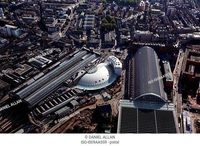 High angle view of King's Cross station, London