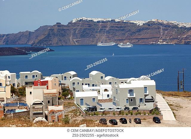 Whitewashed houses in Santorini, Cyclades Islands, Greek Islands, Greece, Europe