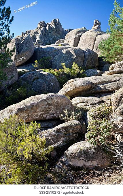 The Devil Truck cliffs from the Pass of the Milling in The Pedriza. Sierra de Guadarrama. Manzanares el Real. Madrid. Spain. Europe