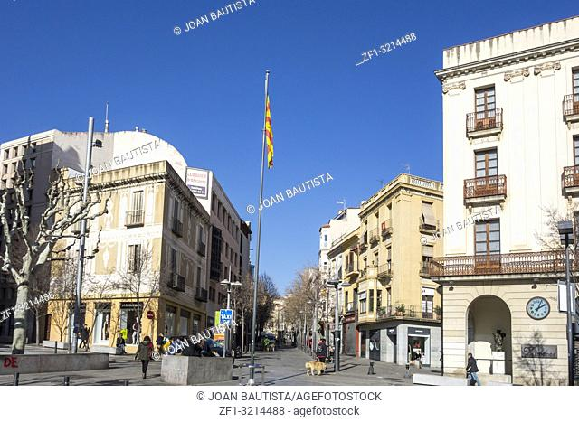 Street view, historic center in Mataro,Spain