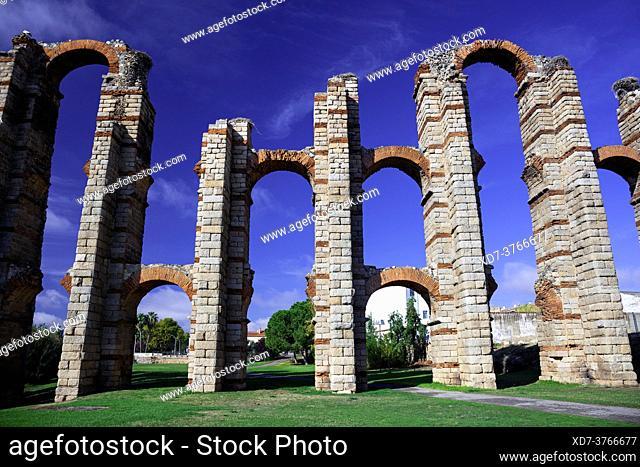 Europe, Spain, Badajoz, Merida, Roman Acueducto de los Milagros or 'Miraculous Aqueduct' with Nesting Storks